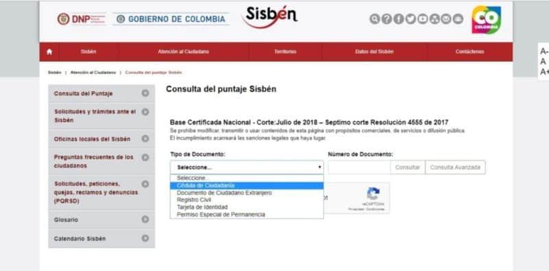 Puntaje del Sisbén 2019 - 2020