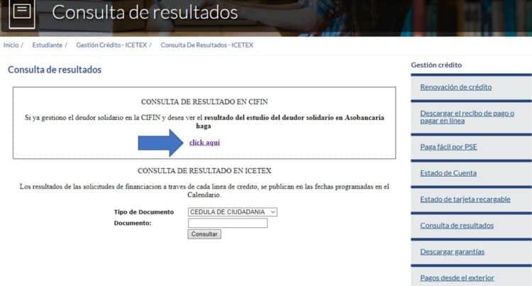 consulta resultados CIFIN