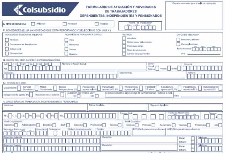 colsubsidio formulario de afiliacion caja de compensación